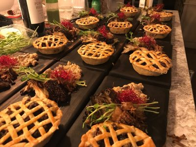 Harry Potter Dinner - Mrs. Weasley's meat pie was made with braised short rib and a bone marrow pie crust. Mushrooms from Son & Skye, a local grower.
